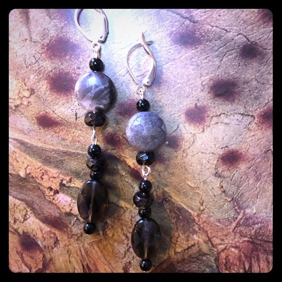 Smoky Quartz & Onyx Earrings